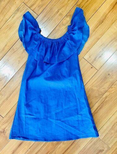 Blue Dress Linen ruffle off shoulder beach summer