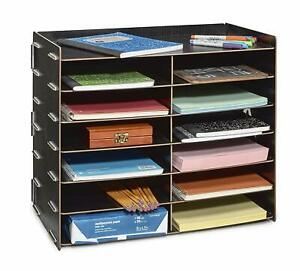 Image Is Loading Adiroffice Black Wood Office Paper Storage 12 Shelf