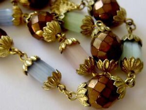 VINTAGE-GOLD-amp-SATIN-GLASS-BEAD-DOUBLE-ROW-STRAND-NECKLACE