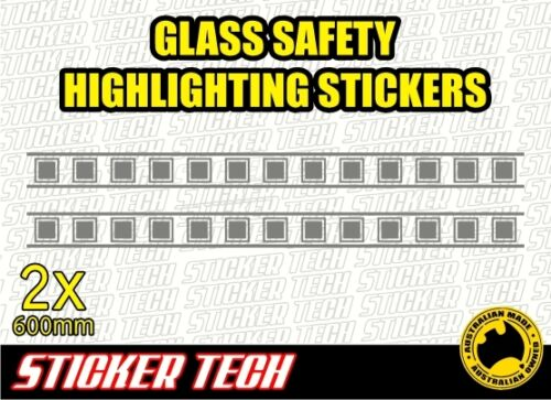 2x GLASS SLIDING DOOR HIGHLIGHTING HAZARD PROTECTION DECAL STICKER SAFETY DECALS