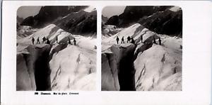 Stéréo, France, Chamonix, mer de glace, crevasse Vintage stereo card  Tirage a