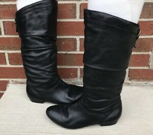 ALDO Black Leather Slouch Boots Women's