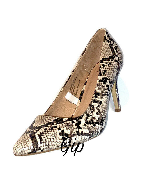 Women's Gemma Pointed Toe Heeled Pumps A New Day Faux Snakeskin Size 7.5