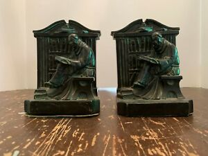 Antique-1920-Aronson-Monk-Reading-Book-Library-Cast-Metal-Bookends