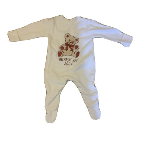 Luxury gift wrapped Teddy bear beige//red born in 2021 embroidered sleepsuit