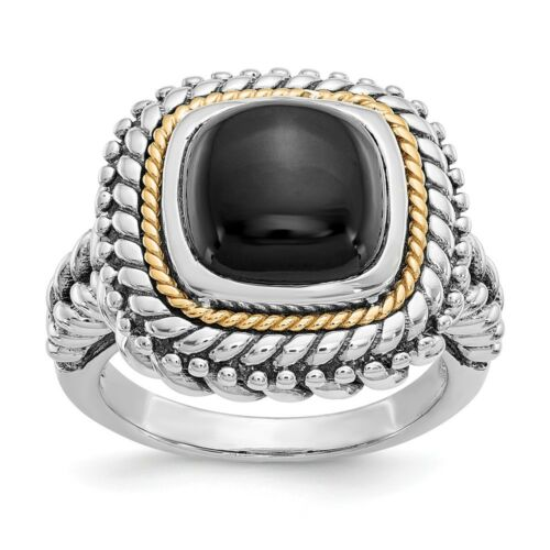 Onyx Cabochon Ring .925 Sterling Silver /& 14K Gold Accent Size 6-8 Shey Couture