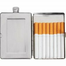 FLASK & CIGARETTE CASE Holder 2.5oz Secret Wallet Stainless Steel Travel Carry