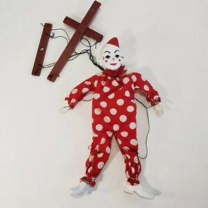 Vintage-Teto-the-Clown-by-Hazelle-Puppet-Marionette-15-034-Red-White-Polka-Dots