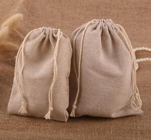 Large Wedding Natural Linen Drawstring Favour Gift Holder Bag Medium