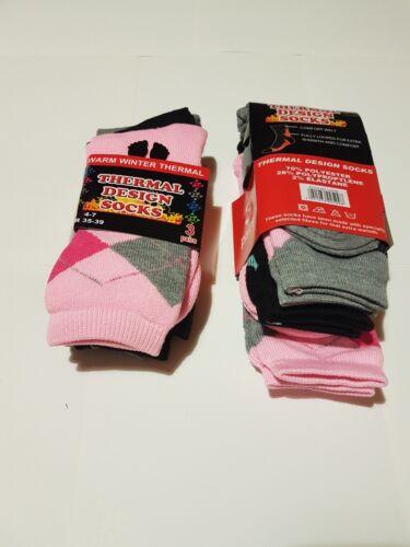 LADIES 3 PAIR THERMAL DESIGN  SOCKS WARM OUTDOOR ARGYLE PINK  RED WALKING value