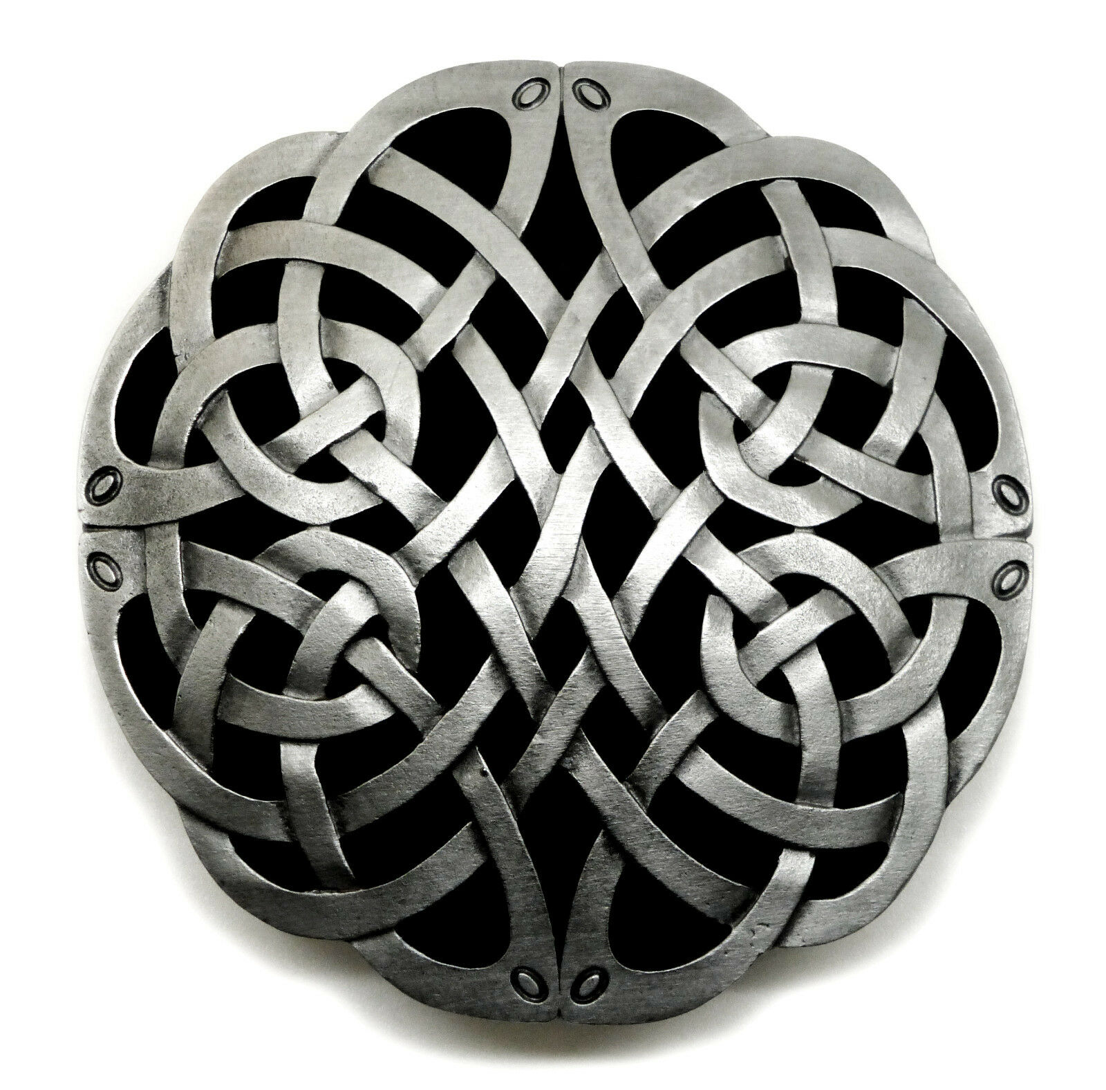 Celtic Knot Belt Buckle Circular Curved Black & Grey Authentic Dragon Designs
