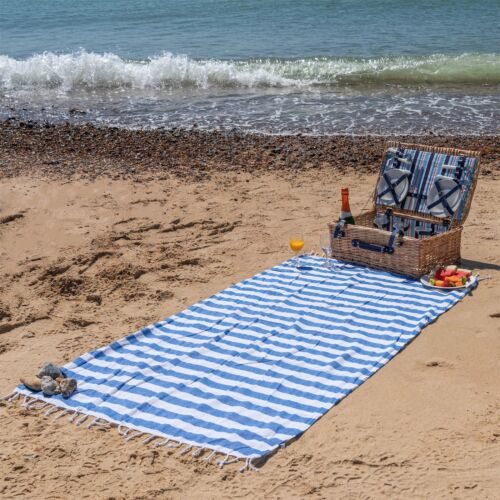 Turkish Cotton Towel Beach Bath Gym Hammam Peshtemal Fouta Throw Blue Stripe x2