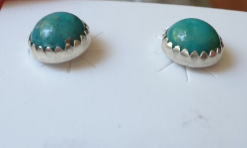 Sterling Silver small 8mm round darker color Turquoise Inlaid Stud Earrings