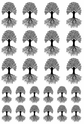 """Tree of Life Black or White  5/"""" X 3.5/"""" Card Fused Glass Decals"""