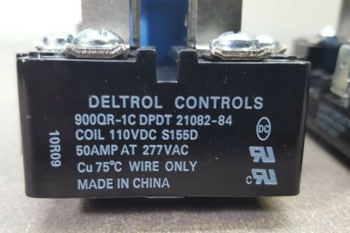 DELTROL CONTROLS 900QR-1C DPDT 21082-84 Coil 110VDC S155D 50Amp@277V Power Relay