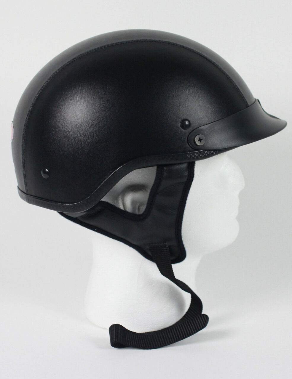 DOT LEATHER SERIES SHORTY MOTORCYCLE HALF HELMET BEANIE HELMETS LIGHTER SHELL