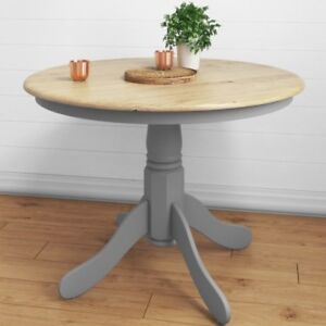 Image Is Loading Round Pedestal Dining Table Small Grey Furniture Oak