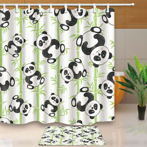 Image Is Loading 71 034 Cartoon Panda Bathroom Decor Waterproof Fabric