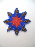 Handmade Beaded Star Rosette For Native Regalia Bags Buckskins Glass Beads