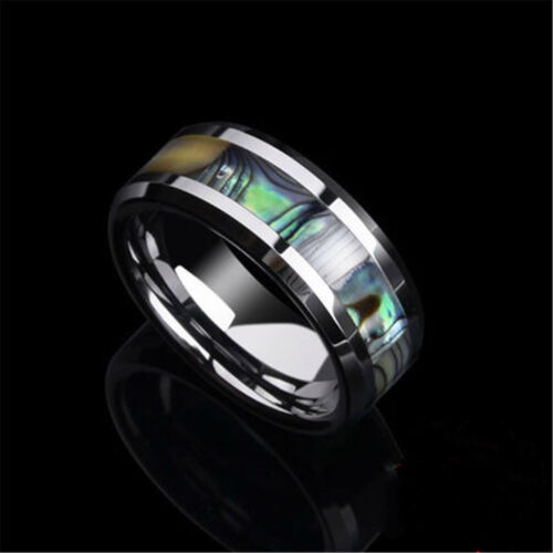 Stainless Steel Abalone Shell Inlay Mens Wedding Band Womens Jewelry Party Ring
