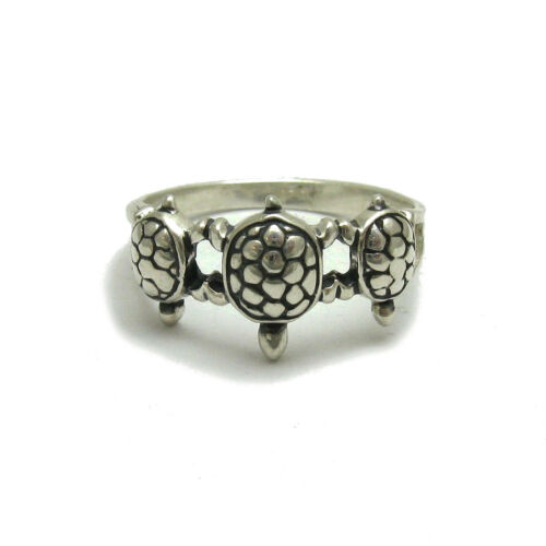 Sterling silver ring solid 925 three Turtles R001127 Empress