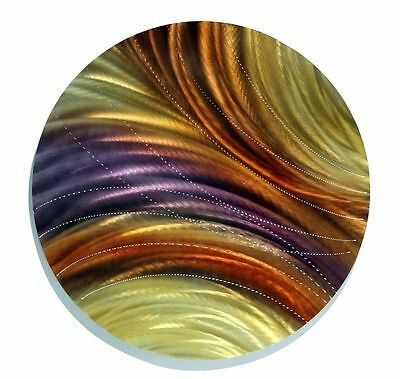 Golden Jewel-Tone Round Metal Wall Art Accent - Fields of Wheat by Jon Allen