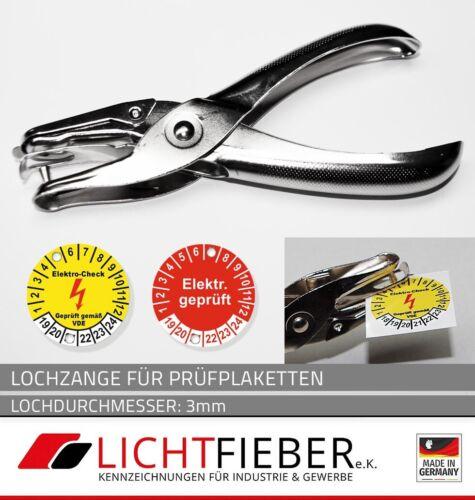 rund Etiketten Lochdurchmesser 3 mm Lochzange Kerbzange für Prüfplaketten