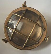 Lampada stile marina tartaruga in ottone lucido e vetro plafoniera navale