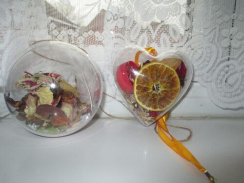 LARGE HANGING WITCH BALL CLEAR HEART,INCENSE,SPELL,CANDLE,ROSES,WILLOW,LOVE RICE