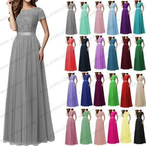 6f06ed039229 Long Chiffon Lace Evening Formal Party Ball Gown Prom Bridesmaid ...