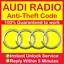 AUDI-RADIO-CODE-Concert-Chorus-Symphony-A6-A4-A7-A3-A8-TT-Q7-A1-A2-CD-A5-MMI thumbnail 1