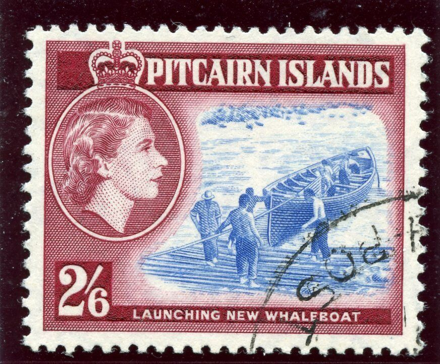 Pitcairn Islands 1959 QEII 2s 6d blue & deep lake very fine used. SG 28a.