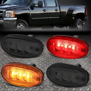 FOR-11-18-FORD-SUPER-DUTY-DUALLY-BED-SIDE-FENDER-LED-MARKER-CAB-LIGHT-4PC-SMOKED