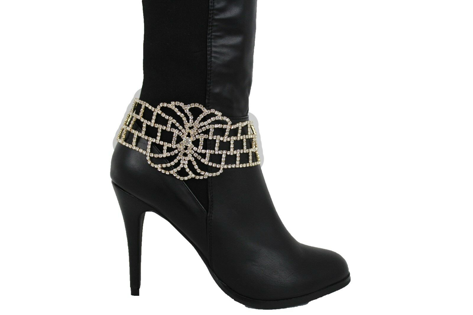 Hot Women Boot Bracelet Gold Metal Chain Bling Anklet Shoe Wide Bold Shiny Charm