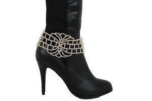 Hot-Women-Boot-Bracelet-Gold-Metal-Chain-Bling-Anklet-Shoe-Wide-Bold-Shiny-Charm