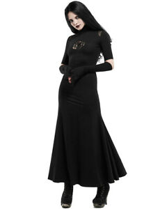 Punk Rave Long Gothic Maxi Dress Black Spider Rose Lace Embroidered Witch Occult
