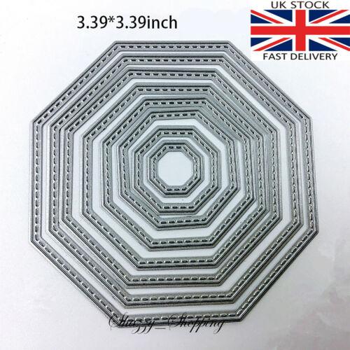 Octagon stitch nesting die set metal cutting die cutter UK seller Fast Post