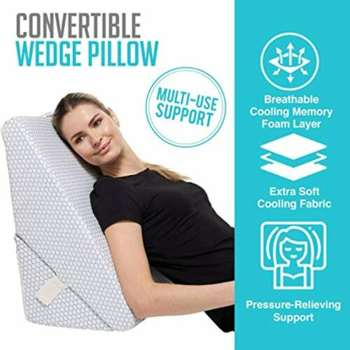 "Cooling Bed Wedge Pillow Adjustable 9/"" to 12/"" Incline Legs Back Support Cushion"