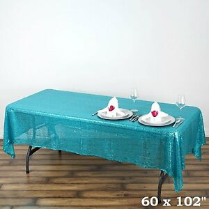 Turquoise-Sequin-Tablecloth-60-by-102-Shiny-Tablecloth-For-Wedding-Decoration