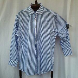 725d365f64 Chaps mens dress shirt Neck size 16 Blue white striped Spread collar ...