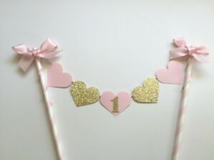 Pink-Gold-Baby-Girl-1st-Birthday-Cake-Topper-Banner-Showers-Decorative-Party