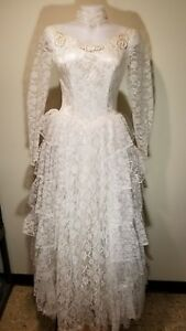 Details About 1950s Vintage Wedding Dress Lace With Satin Underlay Champagne With Ivory