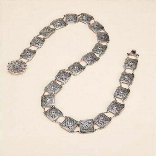 Damen Blumenmuster Metall Hüfte Gürtel Bund Ketten Klassisches Silber Mode Neu