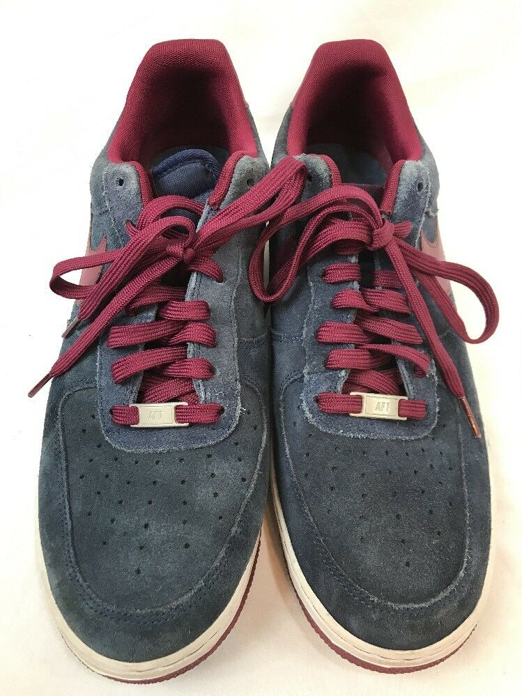 NIKE AIR FORCE 1 LOW SUEDE MIDNIGHT NAVY DEEP GARNET Shoes Size 13 488298-427
