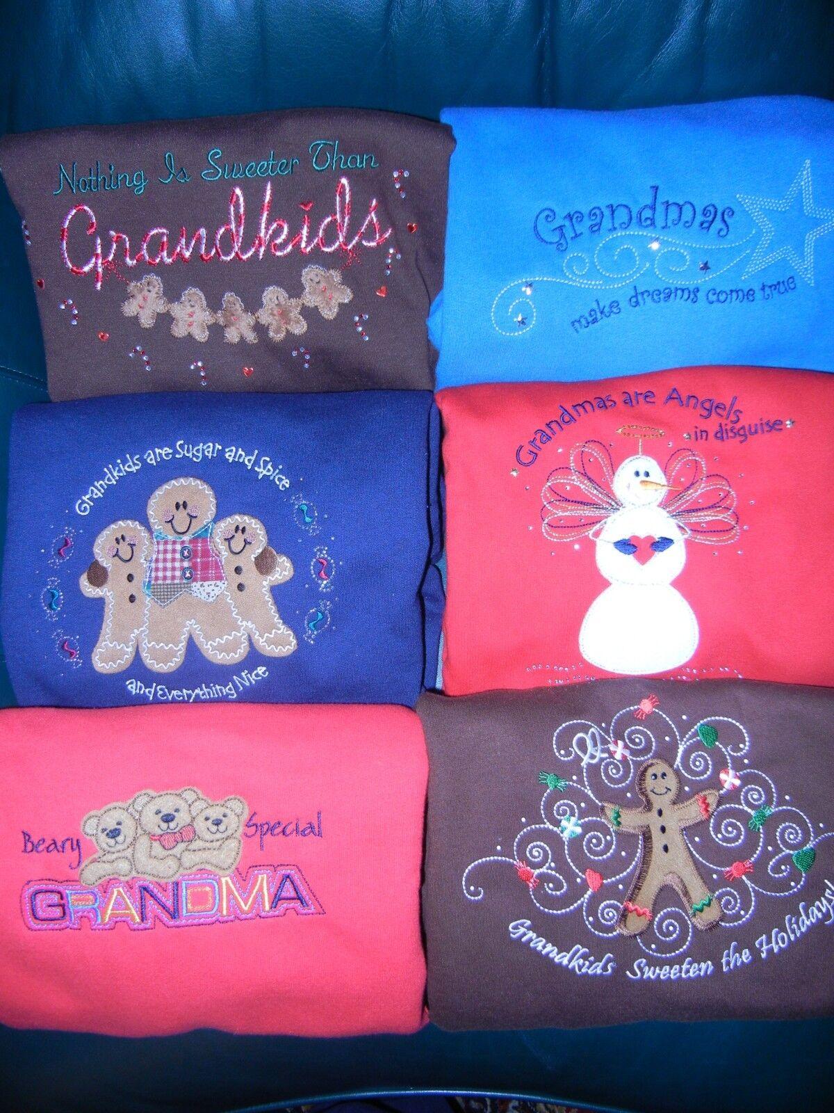 Set of 6 Grandma Grandkids Embroidered Sweatshirts - EXCELLENT