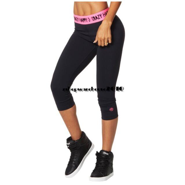 ZUMBA Crazy Happy Capri Leggings Pants ~BLACKwPINK Fr.Convention XS S