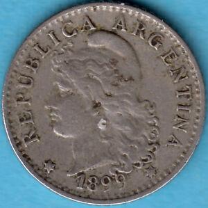 Argentinien-1899-5-Centavos-Kupfer-Nickel-Muenze