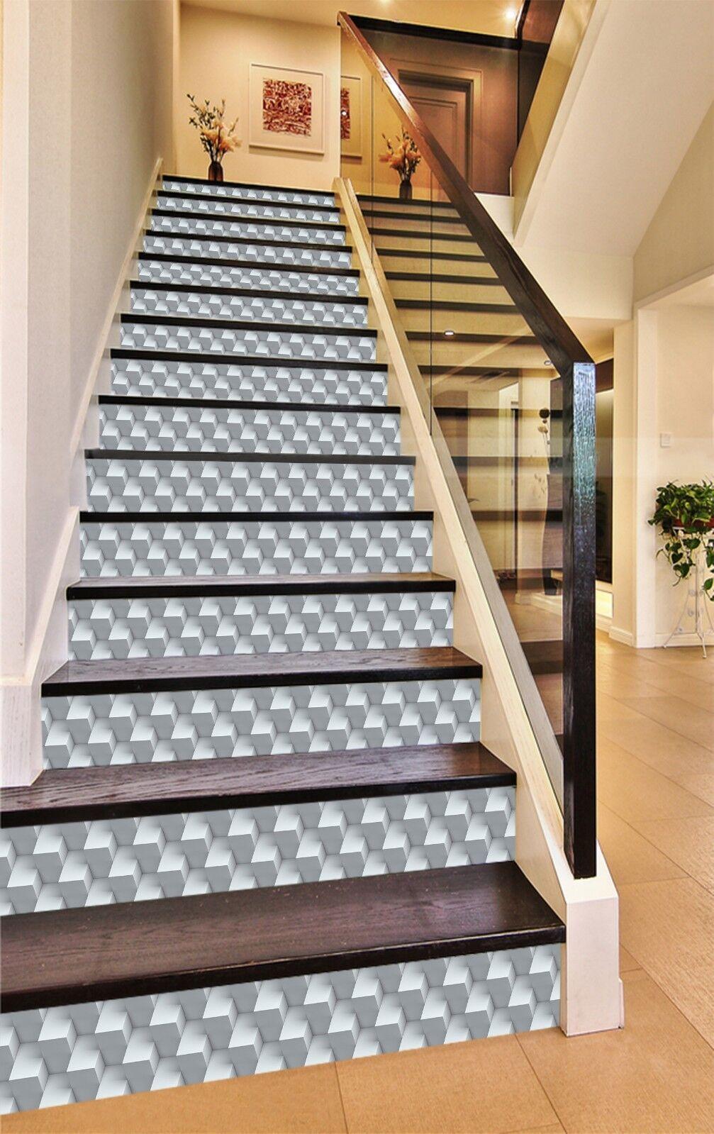 3D Weiß Geometry 1 Tile Marble Stair Risers Decoration Mural Vinyl Wallpaper UK