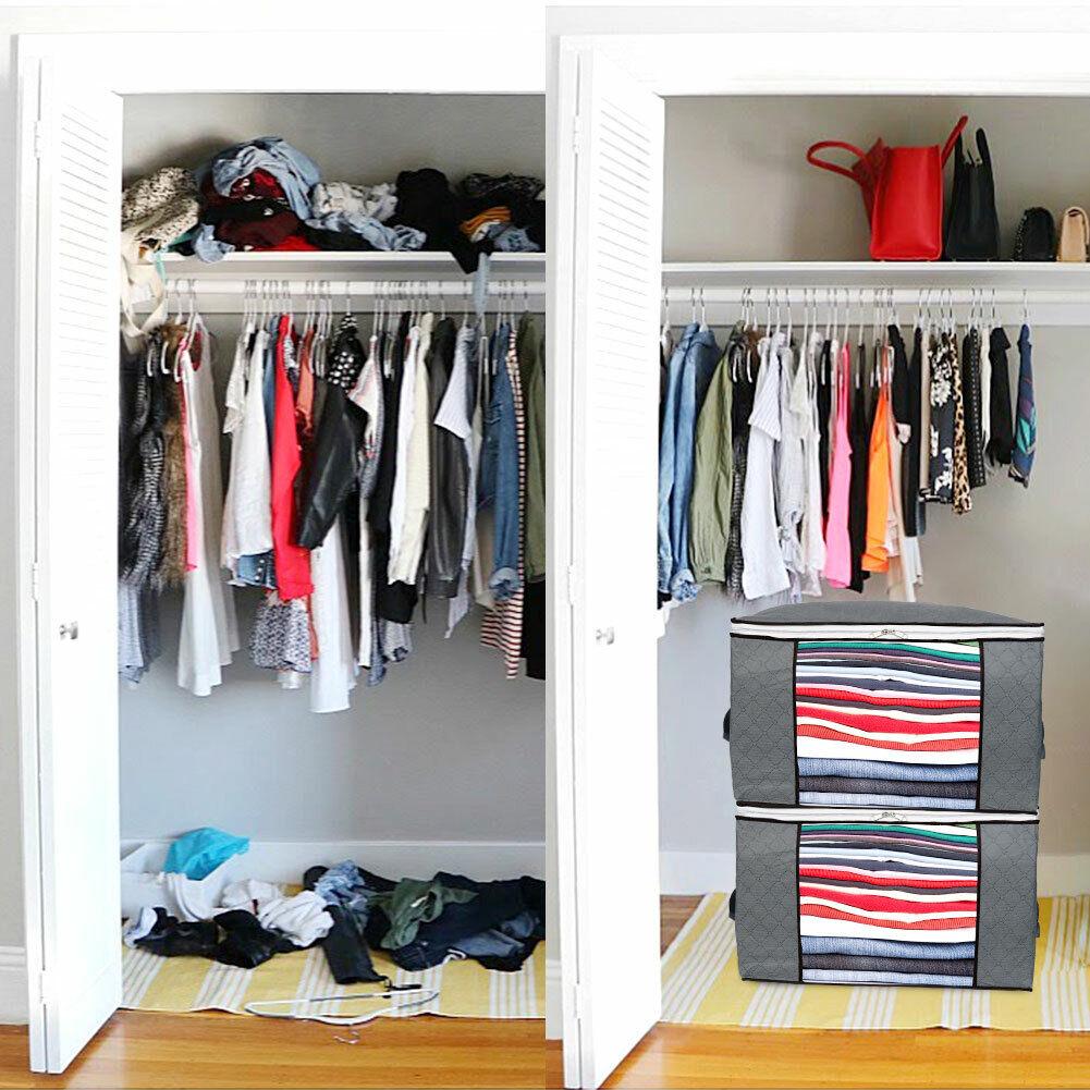 2x Large Underbed Clothes Storage Bags Ziped Organizer Wardrobe Cube Closet Box