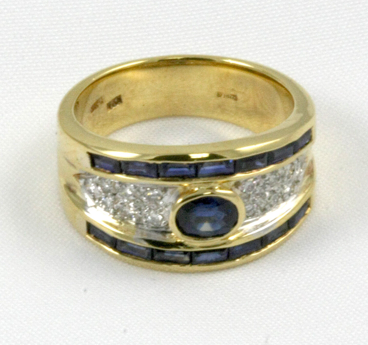 Sapphire Ring 18k YG with 1.56ct Sapphires + 0.19ct Diamonds  CLOSE OUT